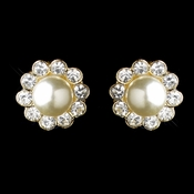 Gold Ivory Pearl & Round Rhinestone Flower Stud Earrings 2070