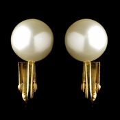 Gold Ivory Pearl Stud Clipped Earrings 6052