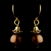 Gold Brown Glass Pearl & Bali Bead Drop Earrings 8662