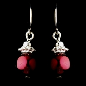 Silver Burgundy Glass Pearl & Bali Bead Drop Earrings 8662***Discontinued***