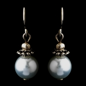 Silver Light Blue Glass Pearl & Bali Bead Drop Earrings 8662