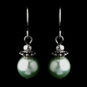 Silver Peridot Glass Pearl & Bali Bead Drop Earrings 8662