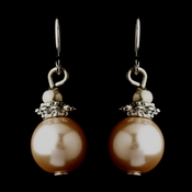 Silver Pink Glass Pearl & Bali Bead Drop Earrings 8662