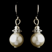 Silver White Glass Pearl & Bali Bead Drop Earrings 8662