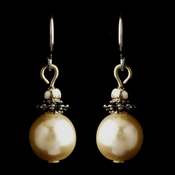 Silver Ivory Glass Pearl & Bali Bead Drop Earrings 8662