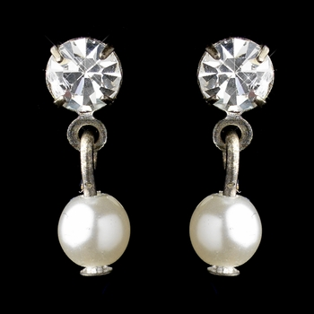 Silver White Pearl & Round Rhinestone Drop Clipped Earrings 8820 * Discontinued *