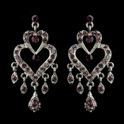 Antique Silver Amethyst Rhinestone Heart Chandelier Bridal Earrings 8689