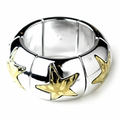 Silver & Gold Starfish Stretch Bracelet 81778