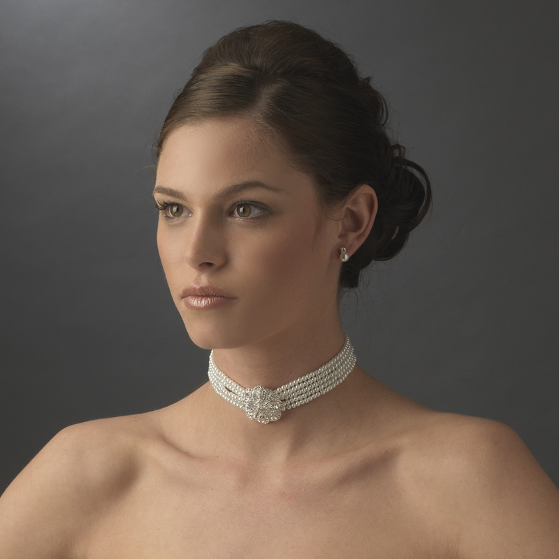 Bridal 5 Row Choker Pearl Necklace N 600 Silver White Or