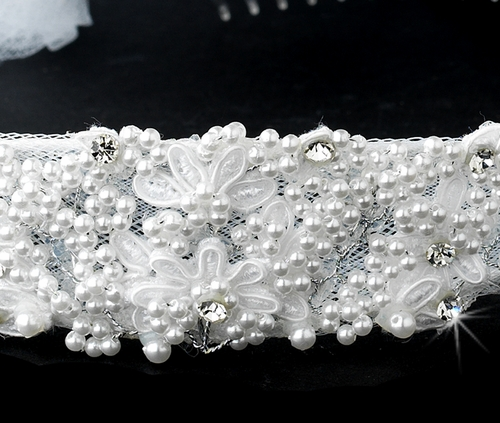 Childrens White Pearl & Rhinestone accent Headband & Veil HPC 472