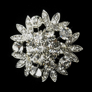 Antique Silver Clear Rhinestone Flower Bridal Brooch 185**Discontinued***