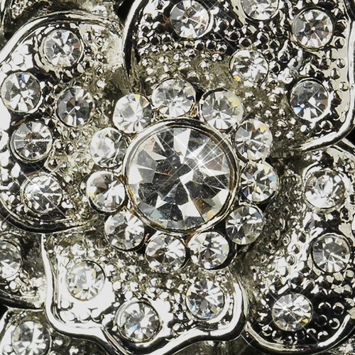 Antique Silver Clear Rhinestone Flower Bridal Brooch 184