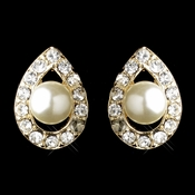 Gold Ivory Pearl & Round Rhinestone Stud Earrings 2309