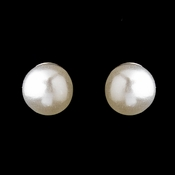 Silver White 4mm Pearl Stud Earrings 3162