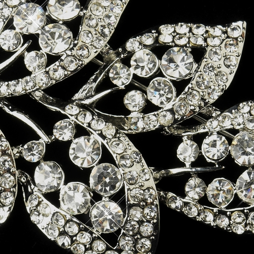 Antique Silver Clear Rhinestone Leaf Bridal Brooch 182