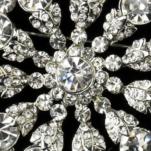 Antique Silver Clear Rhinestone Starburst Flower Bridal Brooch 171