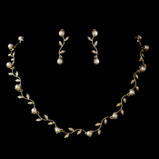 Gold Ivory Pearl & CZ Crystal Necklace & Earrings Jewelry Set 0112