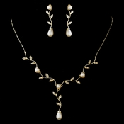 Gold Ivory Pearl & Clear Rhinestone Teardrop Necklace & Earrings Jewelry Set 0116