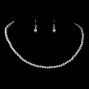 Silver White Pearl Necklace 3141 & Earrings 6803 Jewelry Set
