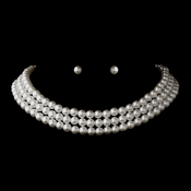 Silver White 3 Row Glass Pearl Choker Necklace 3201 & Earrings 6042 Jewelry Set