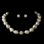 Silver Ivory Pearl & Rondelle Ball Necklace 4346 & Earrings 0041 Jewelry Set