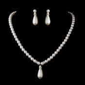 Silver White Glass Pearl & Rhinestone Rondelle Necklace & Earrings Jewelry Set 4691