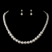 Silver White Pearl Necklace 6021 & Earrings 1025 Jewelry Set