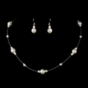 Silver White Pearl Illusion Necklace & Earrings Jewelry Set 8601