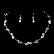 Silver Ivory Czech Glass Pearl & Swarovski Crystal Bead Multiweave Illusion Necklace 8672 & Earrings 2031 Jewelry Set