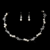 Silver White Czech Glass Pearl & Swarovski Crystal Bead Multiweave Illusion Necklace 8672 & Earrings 2031 Jewelry Set