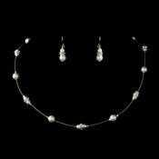Silver White Czech Glass Pearl & Clear Rhinestone Rondelle Necklace & Earrings Jewelry Set 8805