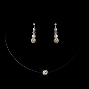Silver Clear Rhinestone Ball Illusion Necklace 9326 & Earrings 8604 Jewelry Set