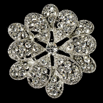 Elegant Vintage Pave Crystal Bridal Pin for Hair or Gown Brooch 25 Antique Silver with Rhinestones