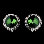 Silver Emerald Round Rhinestone Stud Clipped Earrings 9932