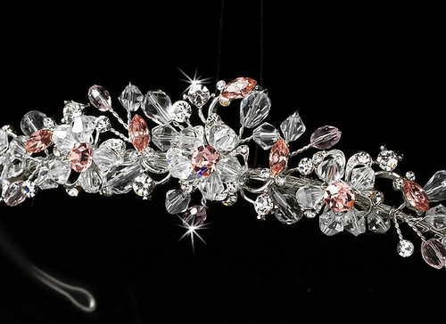 Crystal Bridal Tiara with Pink Accents HP 8003