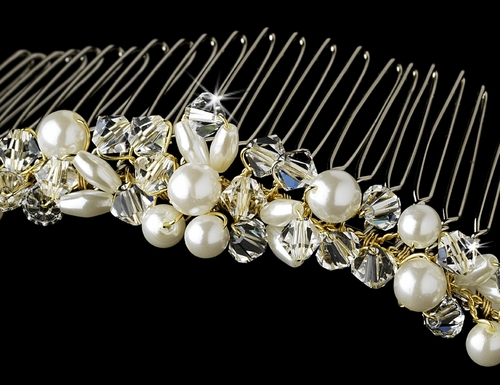 Gold with Ivory Pearls & Crystal Bridal Comb 7002