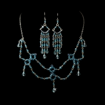Necklace Earring Set 240 Light Blue