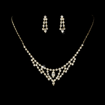 * Necklace Earring Set 333 Gold Clear