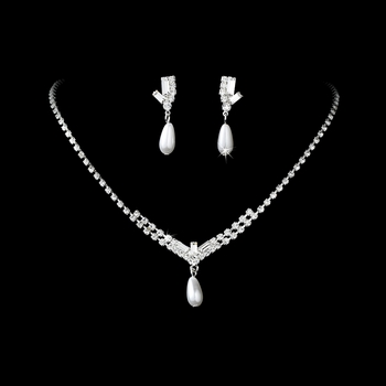 * Necklace Earring Set NE 140 Silver White