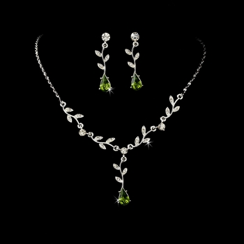 Necklace Earring Set 328 Dangle Silver Clear Green