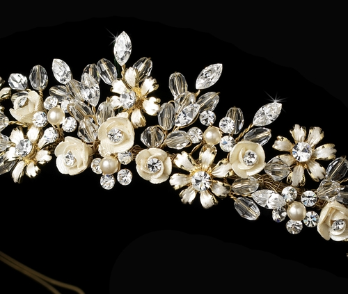 Gold Champagne Bridal Tiara HP 4429