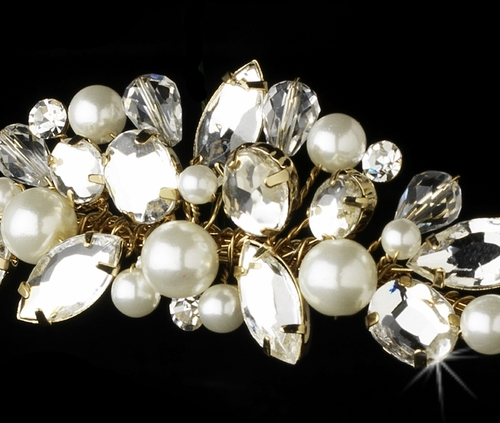 Headpiece 8234 Gold Ivory Clear w/ Natural Pearl