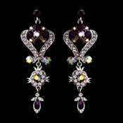 Silver Amethyst Purple Chandeleir Crystal Earrings 1031