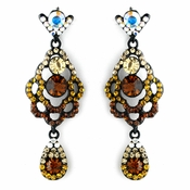 Four Tone Topaz Mix on Black Chandelier Earring Set 8540