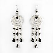 * Immaculate Silver Clear & Black Austrian Crystal Chandelier Earrings 24496