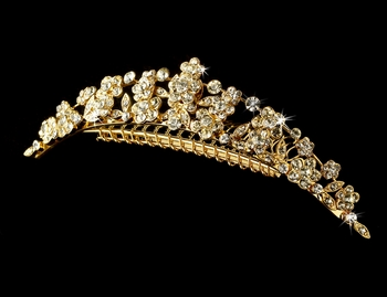 * Princess Gold Flower Bridal Comb 4169