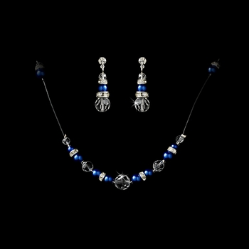 Necklace Earring Set 230 Navy Clear
