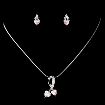 Necklace Earring Set N 3714 E 3766 Silver Pink