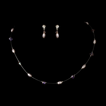 Light Amethyst Pearl & Swarovski Crystal Jewelry Set NE 226