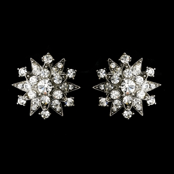 * Dazzling Antique Silver Starburst Clip-On Earrings w/ Clear Crystals 1332